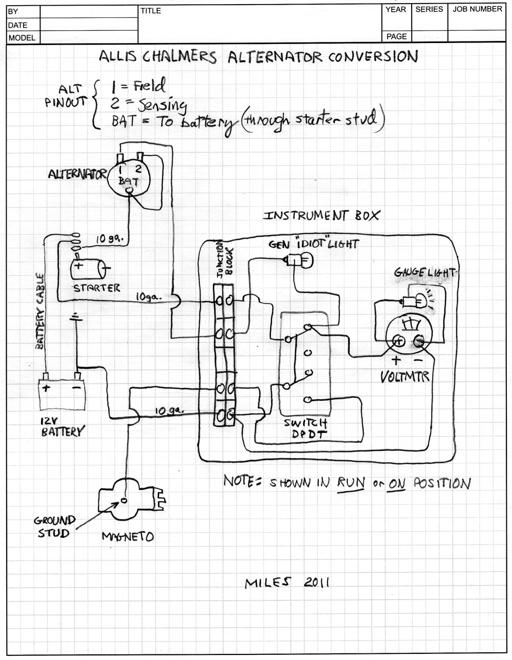 Allis Chalmers B alternator conversion schematic