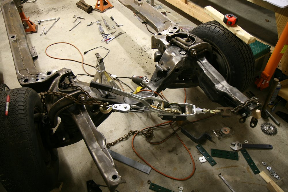 pulling 67 gto frame horn into alignment with come along
