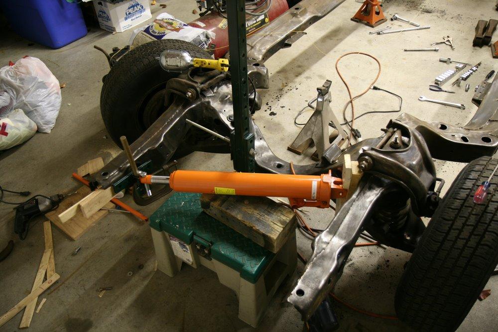 straighten 67 pontiac gto passenger side frame horn