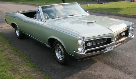Front view of freshly painted Linden Green 1967 GTO